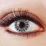 Colores Contacto lente negro sin grosor con diseño negra FUN lente para Halloween Carnaval Fiesta Cosplay Disfraz Telaraña Black White