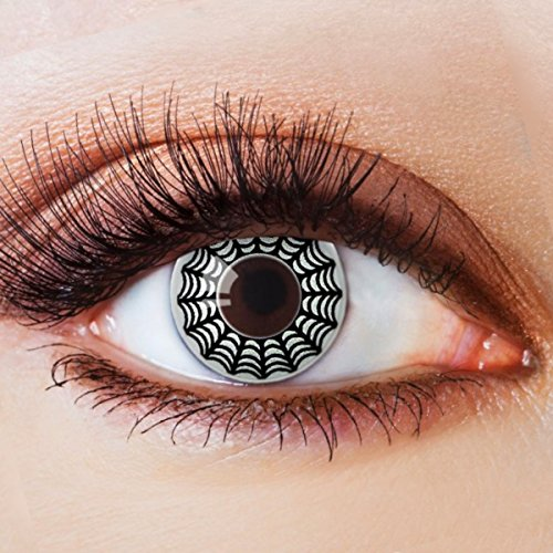 Farbige Kontaktlinsen Schwarz Weiß Ohne Stärke mit Motiv Linsen Halloween Karneval Fasching Cosplay Kostüm Black White Eyes Schwarze Weiße Augen Spinnennetz