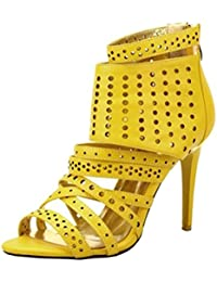 SHOWHOW Damen Glitzer Spitz Stiletto Cut Out High Heels Riemchensandalen Gold 37 EU 5B2HD