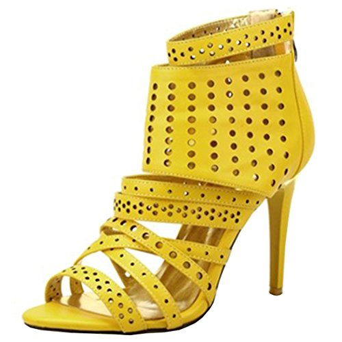 Artfaerie Damen High Heels Sommer Ankle Boots mit Hinten Reißverschluss und Cut Out Open Toe Stiletto Sandalen Mode Schuhe