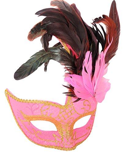 Maskerade Maske, Funpa Kostüm Maske Mardi Gras Maske Feder Maskerade Maske Venezianische Maske Party Maske (Mardi Gras Feather Masken)