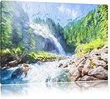Le National Park Antiquariato Krimml scivoli, arte effet de Brosse, dimensioni: 120x80 sur toile, XXL enormi immagini complètement encadrées avec civière, impressione d'arte sur murale avec cadre, moins cher que la peinture ou une peinture à l'huile, une pas affiche ou une bannière, - Pixxprint - amazon.it