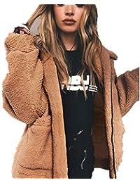 Veste FantaisieZ Femme Manteau de Laine Sweat en Peau de Mouton Pulls Hiver  Chaud Outwear Manche c6353b02d04