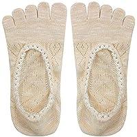 Ogquaton Invisible Five Finger Lace Boat Socks Calcetines de verano Calcetines cómodos Calcetines con punta transpirable para dama 1 par