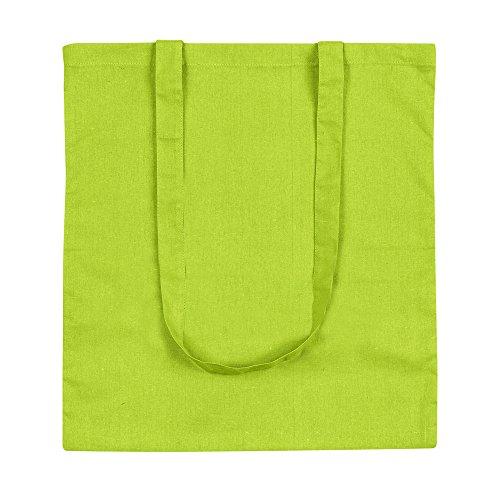 eBuyGB confezione da dieci 100% 4oz cotone Shopping Tote borse a tracolla (marrone) Verde lime