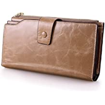 VANCOO Grande capacità di cera di lusso raccoglitore del cuoio genuino delle donne con la chiusura lampo Pocket (alto pacchetto di grado)