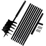 mewmewcat Metall Bohrer Handerdbohrer 200mm Erdbohrer Erdbohrgerät mit Griff + 8X Verlängerungsrohr