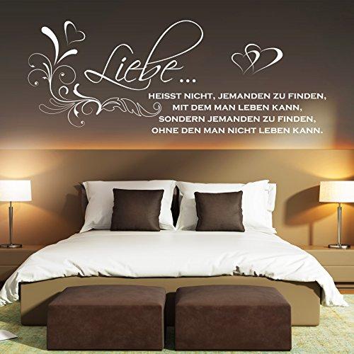 Wandtattoo Liebe heißt nicht jemanden zu finden... Spruch Zitat Paare ist Herz Blumen Schwarz 070 158 x 60 cm