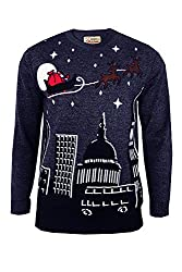 Santa Sleigh Over London Night Sky Sweater