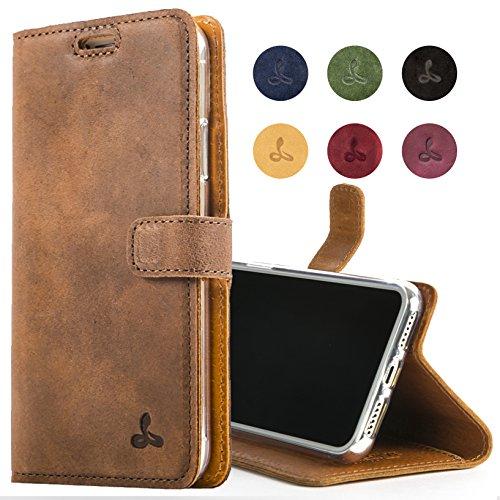 Snakehive Hülle kompatibel für iPhone 8 / Handy Schutzhülle/Klapphülle echt Lederhülle mit Standfunktion, Handmade in Europa - (Kastanien Braun) -