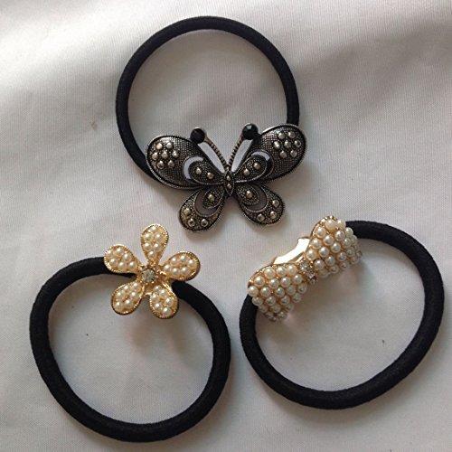 cuhair (TM) 3 pièces en métal Bow Flower Girl femmes Force Queue de cheval élastique de cheveux Cravates bandes Corde en caoutchouc ou accessoires