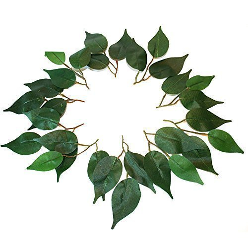 21 leaves (7 spriggs of 3) artificial silk plain green leaf ficus leaves wedding craft by floral natalie