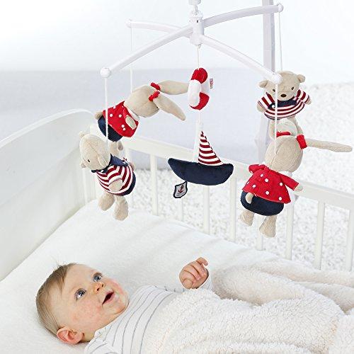 Einschlafhilfe fürs Baby Spieluhr-Mobile mit Teddys im Matrosenlook zum Lauschen & Staunen - Zum Befestigen am Bett für Babys von 0-5 Monaten - Teddys, Staunen, Musikmobile, Monaten, Matrosenlook, Lauschen, Höhe, Fehn, Bett, Befestigen, Babys, baby einschlafhilfe bett