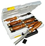 Stanley Bailey Stechbeitel-Set (6-teilig, 6/10/12/16/20/25 mm, nachschärfbar, Kunststoff-Kappe, im Koffer) 1-16-416