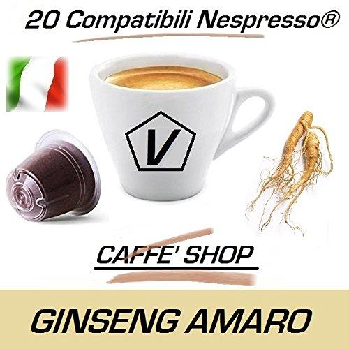 Kapseln kompatibel mit Nespresso, 20 Kapseln Caffè Shop Mischung 'Ginseng Bitter' Linea Espresso