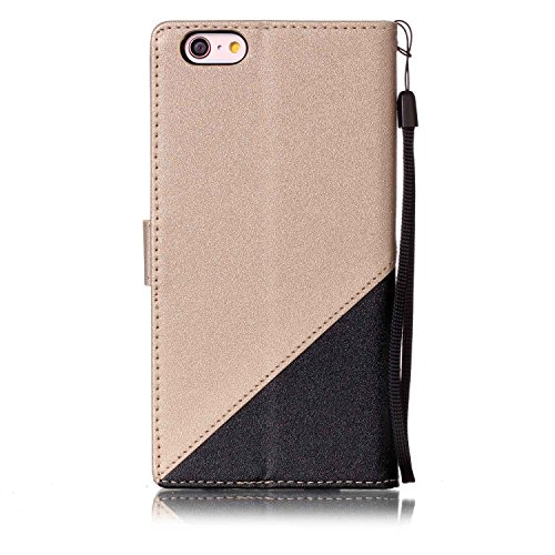 Custodia iPhone 6 Plus - Cover Apple iPhone 6s Plus - ISAKEN Accessories Cover in PU Pelle Bronzing Oro farfalla Leather Custodia Rigida Libro Bookstyle Wallet Flip Portafoglio Copertura Anti Slip Pro nero+gold