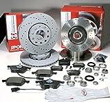 Autoparts-Online Set 60008578 Zimmermann Sport Bremsscheiben Gelocht/Bremsen mit fertig montierten ABS Sensorringen + Bremsbeläge + Warnkabel + Radlager Vorne + Hinten