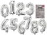 adlerkids Silberne Folien-Luftballons Zahlen 3, ca. 40 cm, wiederbefüllbar
