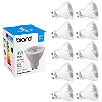 Biard Pack x 10 Bombillas LED Focos Spot Lights GU10 4W No Regulables en Blanco Cálido