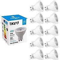 Biard Pack x 10 Bombillas LED Focos Spot Lights GU10 4W No Regulables en Blanco Cálido