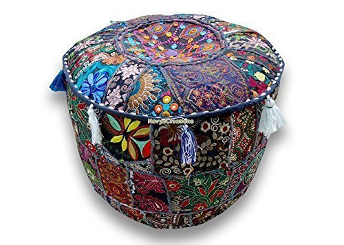Round Patchwork Embroidered Multi Ottoman Pouf Bohemian Indian Decorative, Size 13 X 16 X 16 Inches by Navya Creations by Navya Creations