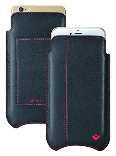 NueVue Leather Premium Pouch Wallet Case with Built-In Screen Cleaning Technology for Apple iPhone 7 Plus - Black