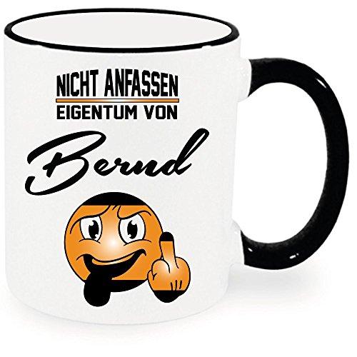 """Namenstasse Ring Becher Schwarz""""Bernd Tasse. Nicht anfassen."""" Alle Namen verfügbar. Nur Original von DRUCK-DEINE-TASSE 5"""