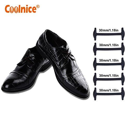 Coolnice lacci elastici no tie lacci per scarpe adulti donna uomo pizzo elastico impermeabile pratica in silicio per scarpe in pelle sportive sneaker boots scarpe stile commerciale formale-nero-30mm