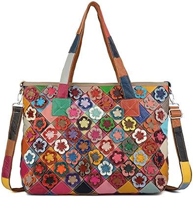 Yaluxe Mujer Grande Multicolor Flores Rayas Cuero Genuino Saco Con Aza Arriba de Mano Bolso de Hombro con Correa Plana