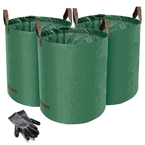 Norjews 272L Large Garden Waste Bags Pack of 3 (H76 cm, D67 cm), Waterproof Rubbish Refuse Sacks with Handles, Tearproof Leaf Grass Bags - Bonus 1 Pair Gardening Gloves