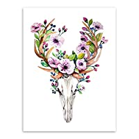 beiguoxia Vintage Dream Catcher Deer Head Skull Feather Wall Art Decorative Painting