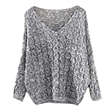 Pullover Damen Strickpullover Frühling Herbst V-Ausschnitt Langarm Locker Casual Jungen Chic Pullover Sweater Bequeme Wollpullover Young Fashion Moderner Stil (Color : Grau, Size : S)