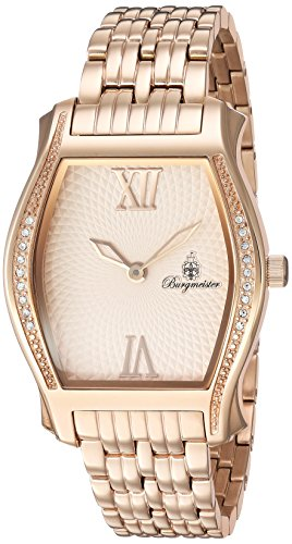 Burgmeister Women's Quartz Watch with Purple Dial Analogue Display and Rose Gold Stainless Steel Bracelet BM806-368