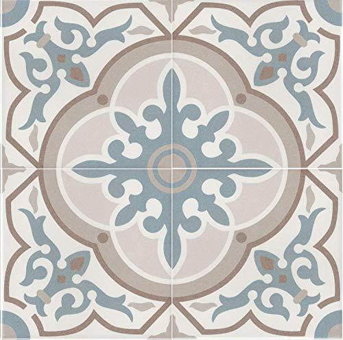 Mediterrane Keramikfliesen orientalisch Aydan 20 x 20 cm 1 qm Feinsteinzeug in Zementoptik frostsicher | Bodenfliesen & Wandfliesen als Wanddekoration im Bad & Küchenrückwand Küche Flur & Badezimmer