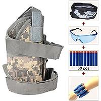 HONGCI Kinder verstellbar Tactical Bein Kit (kommt mit 50 Blau Schaumstoff Darts, Schutzbrille,NAHTLOS Totenkopf-Maske,2 Refill Darts Handgelenk Gürtel) für Nerf Spielzeug Gun N-Strike Elite Series