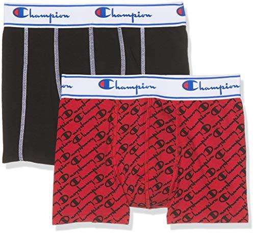 Champion Herren Boxer Coton Mix X2 Boxershorts, Mehrfarbig (Rouge Logo Noir/Noir 8qc), XX-Large...