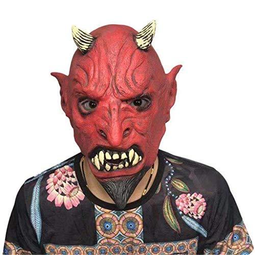 KODH Gruselige rote Teufel Hörner Horror Maske Latex Material Cosplay Dress Up knifflige Leistung Kopfbedeckung Maskerade Party Leistung Horror Grimassen Maske ( Size : One Size - Machen Teufel Hörner Kostüm
