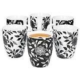 Van Well Porzellan 6er Geschirr-Set Serie Flowers Schwarz & Weiß