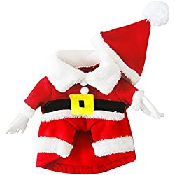 BEETEST Navidad Navidad mascota perro Santa Claus traje ropa abrigo sombrero estilo con ganchos y bucles sujetador decoración de la Navidad M