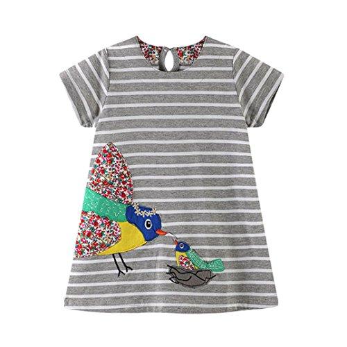 Malloom® Kleinkind Baby Kind Mädchen Cartoon Vogel Stickerei Kleid Streifen Kleid Outfit Kleidung (grau, 120) (Mädchen Kleider 2-pack)