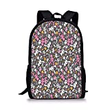 School Bags Doodle,Kawaii Bunnies and Clouds with Cute Heart Eyed Skulls Japanese Anime Design Print Decorative,Multicolor for Boys&Girls Mens Sport Daypack