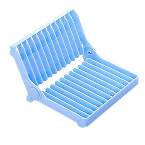 zusammenklappbar Schale und Glas Trocknen Rack, AOLVO Kunststoff Geschirr Halter Küche Teller und Tasse Küchenutensilien Abtropfgestell Drip Regal (weiß) blau - Glas Rack Halter