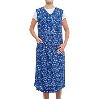 Tobeni Damen Kittelschürze Lang mit Reissverschluss und Tasche Ohne Arm 100% Baumwolle Farbe Design 32 Grösse 58