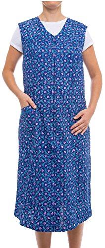 Tobeni Tobeni Damen Kittelschürze Lang mit Reissverschluss und Tasche Ohne Arm 100% Baumwolle Farbe Design 32 Grösse 42