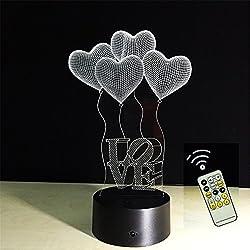 ATD® 3D Optical Illusion 4 Amore-Cuore Regalo romantico Colore 7 che cambia LED Night Light Desk Lamp 15 chiavi a distanza