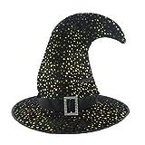 Cappello di Halloween, Copricapo di Cappello da Strega, Cappello da Mago Cappello da Mago,Cappello da Strega con Motivo a Stella Ad Uncino,Cosplay Tessuto per Costume Accessorio (Nero)