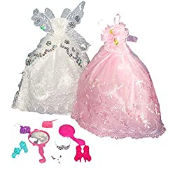 Imported 2pcs Butterfly Rose Flower Gown w. Accs for 29cm Barbie Dolls