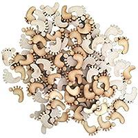 ROSENICE 50 Pezzi Placche Decorative di Legno Fai Da Te Decorazione Impronta di Legno