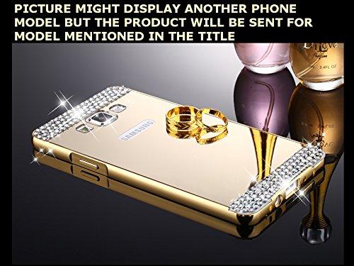 CLASSICO DIAMOND Luxury Aluminium Bumper Plus Mirror Acrylic Back Cover For Samsung Galaxy J5 (J510) NEW EDITION(GOLD)