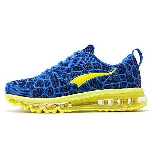 Onemix Herren Air Laufschuhe Turnschuhe Straßenlaufschuhe Sneaker Sportschuhe Blau Gelb